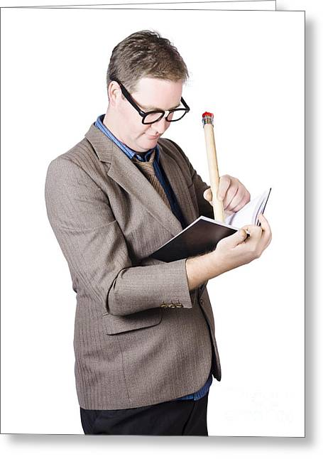 Clever Greeting Cards - Male business nerd writing strategy in note book Greeting Card by Ryan Jorgensen