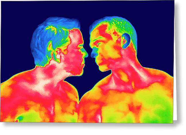Male Couple Kissing Greeting Card by Thierry Berrod, Mona Lisa Production