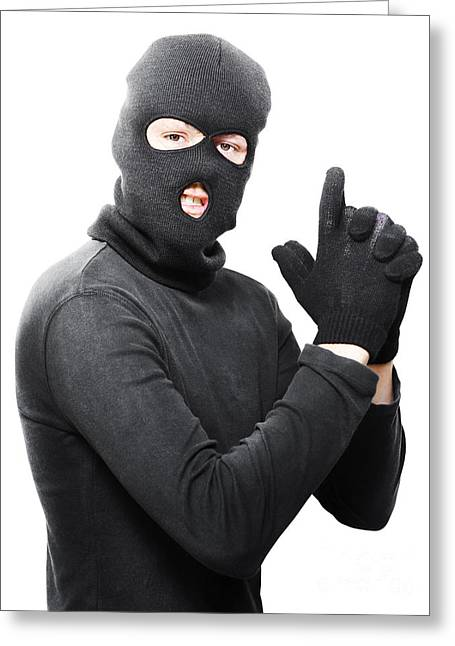 Terrorist Greeting Cards - Male criminal in mask making a hand gun gesture Greeting Card by Ryan Jorgensen