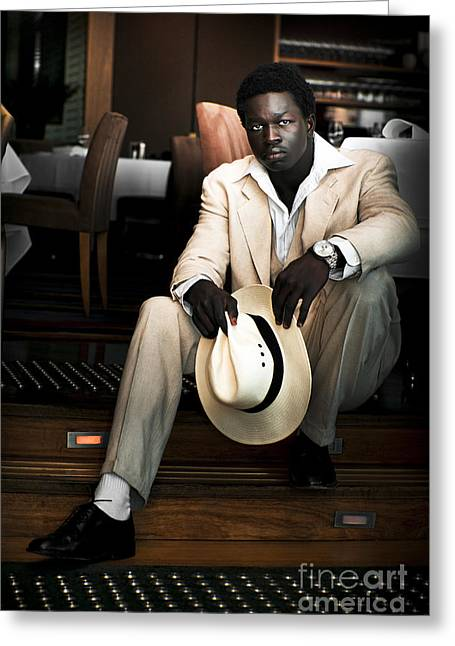 Macho Man Greeting Cards - Male Fashion Model In White Suit Greeting Card by Ryan Jorgensen
