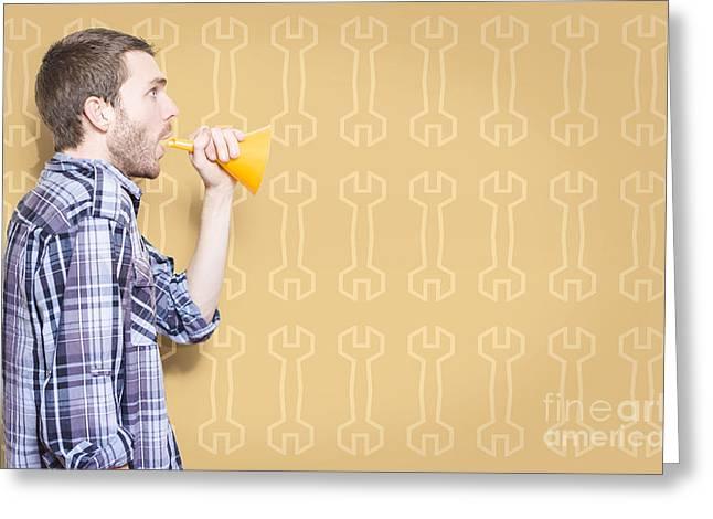 Tradie Greeting Cards - Male Handyman Or Motor Mechanic Talking Trade Tips Greeting Card by Ryan Jorgensen