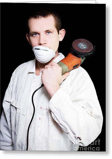 Overalls Greeting Cards - Male Industrial Steel Worker Holding Angle Grinder Greeting Card by Ryan Jorgensen