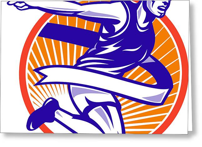 Jogging Greeting Cards - Male Marathon Runner Running Retro Woodcut Greeting Card by Aloysius Patrimonio