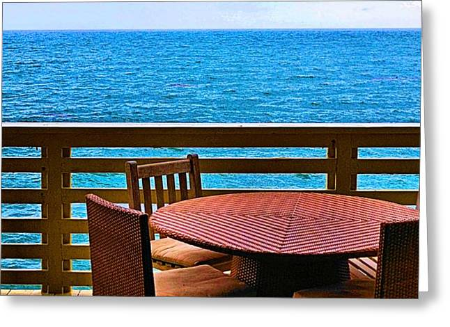 Decorate Greeting Cards - Malibu Beach House Patio View Greeting Card by Tommi Trudeau