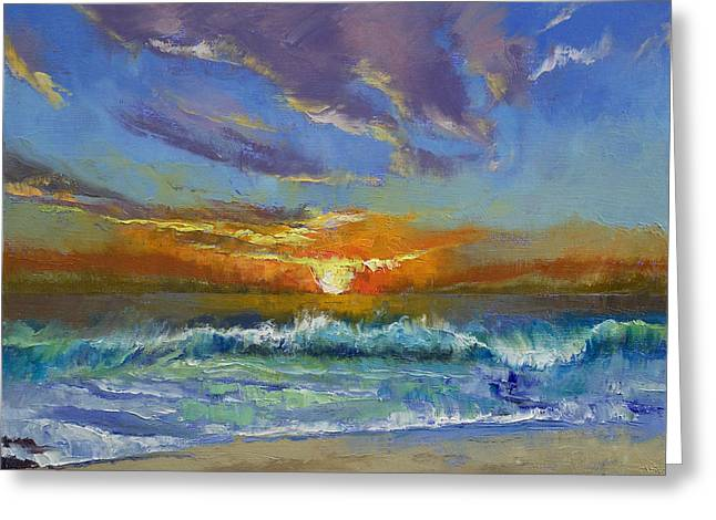 Tropical Oceans Greeting Cards - Malibu Beach Sunset Greeting Card by Michael Creese
