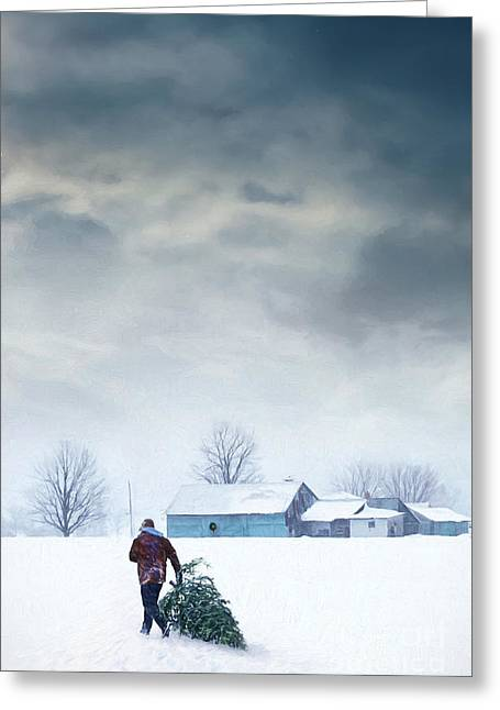 Digitally Altered Greeting Cards - Man carrying tree for Christmas/digital painting Greeting Card by Sandra Cunningham