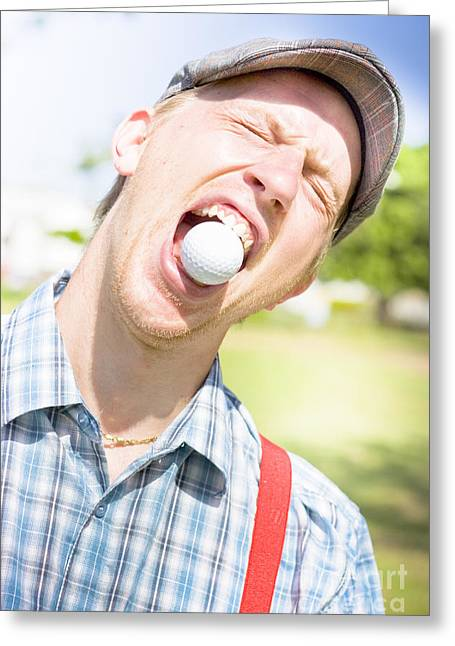 Kooky Greeting Cards - Man Catches Golf Ball In Mouth Greeting Card by Ryan Jorgensen