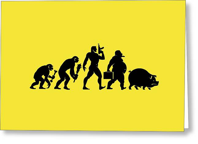 Ancestors Greeting Cards - Man evolving into a pig, conceptual Greeting Card by Science Photo Library