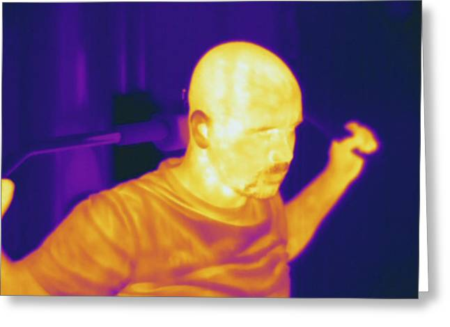 Man Exercising, Thermogram Greeting Card by Science Stock Photography