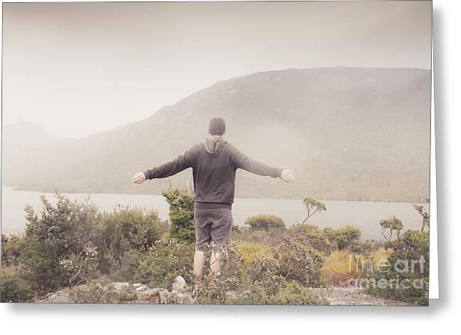 Cradle-mountain Greeting Cards - Man expressing the joy in winter freedom Greeting Card by Ryan Jorgensen