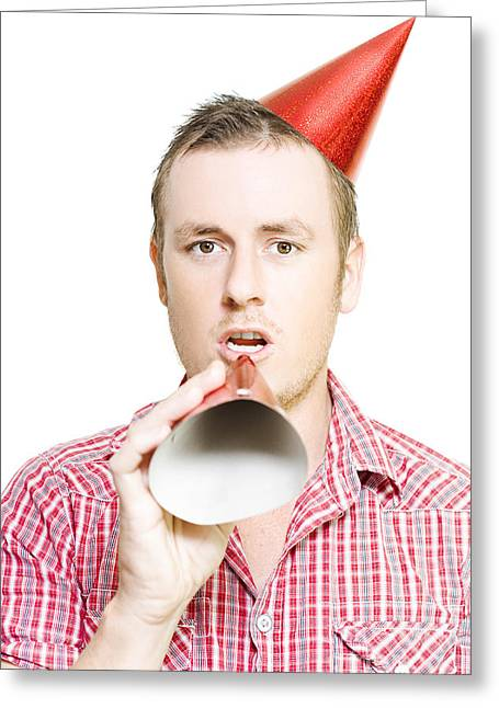 Party Invite Greeting Cards - Man Giving Birthday Invitation Through Party Hat Greeting Card by Ryan Jorgensen