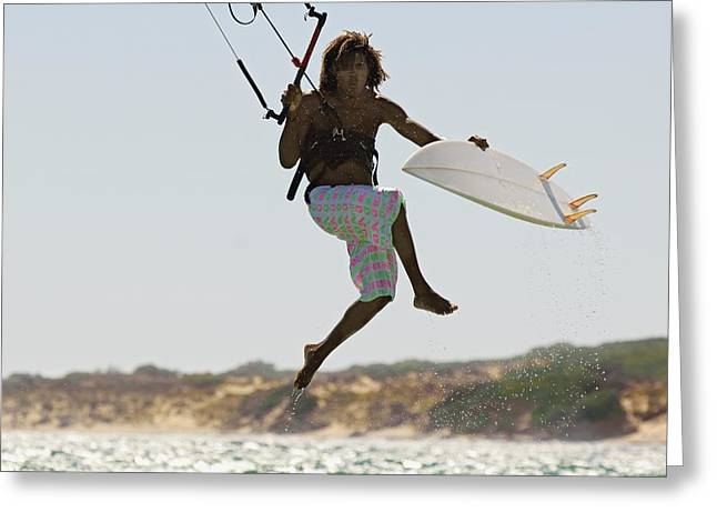 Kiteboarding Photographs Greeting Cards - Man Kitesurfing Greeting Card by Ben Welsh