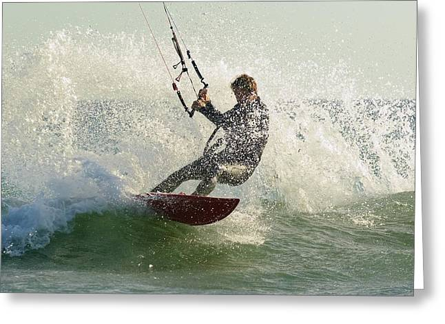 50-59 Years Greeting Cards - Man Kitesurfing Costa De La Greeting Card by Ben Welsh
