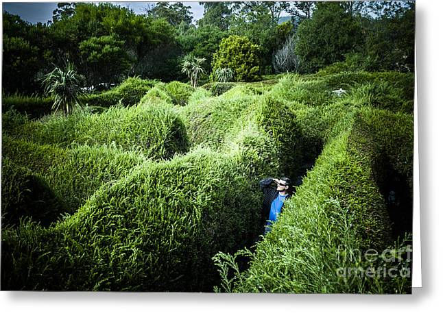 Problem Greeting Cards - Man lost inside a maze or labyrinth Greeting Card by Ryan Jorgensen