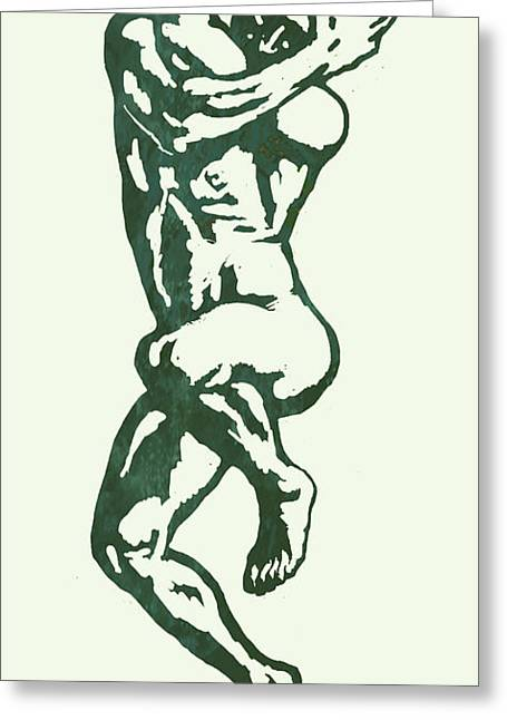 But Greeting Cards - Man nude pop stylised etching art poster  Greeting Card by Kim Wang