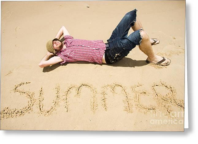Catnap Greeting Cards - Man Of Summer Greeting Card by Ryan Jorgensen
