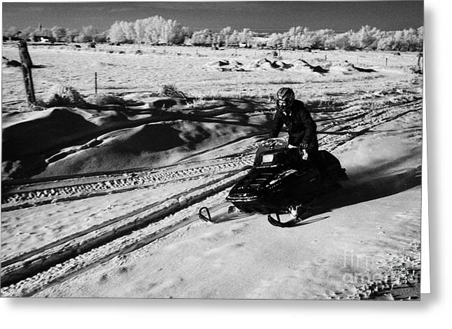 man on snowmobile crossing frozen fields in rural Forget Saskatchewan Canada Greeting Card by Joe Fox