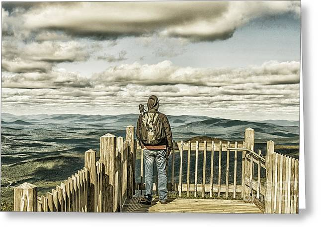 Knapsack Greeting Cards - Man on viewpoint admiring landscape Greeting Card by Patricia Hofmeester