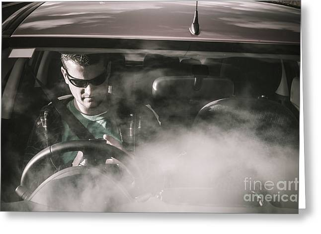 Man Sitting In Broken Down Car With Smoke Greeting Card by Jorgo Photography - Wall Art Gallery