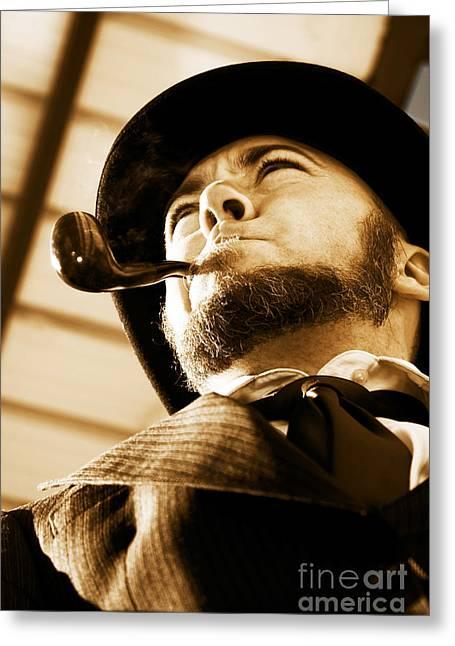 White Beard Greeting Cards - Man Smokin Pipe Greeting Card by Ryan Jorgensen