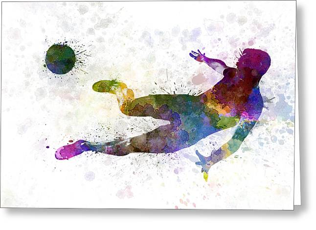 Backlit Paintings Greeting Cards - Man Soccer Football Player Flying Kicking  Greeting Card by Pablo Romero
