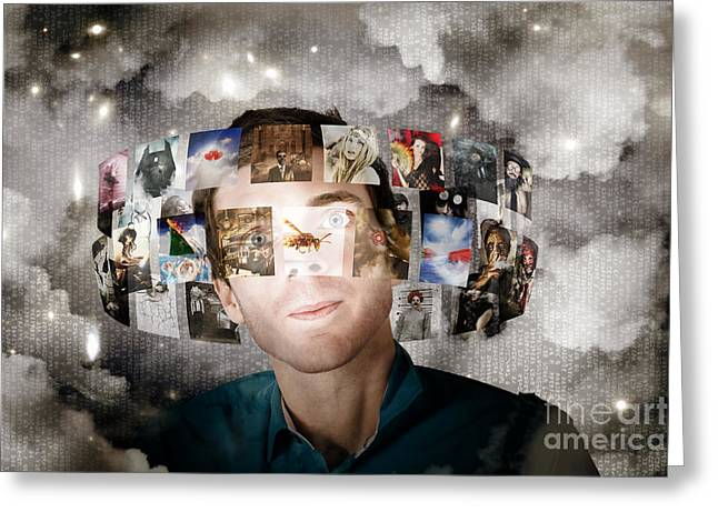 Man Streaming Media With Cloud Server Informatics Greeting Card by Jorgo Photography - Wall Art Gallery