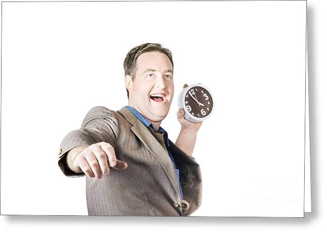Time Works Greeting Cards - Man throwing time out window with chucking clock Greeting Card by Ryan Jorgensen