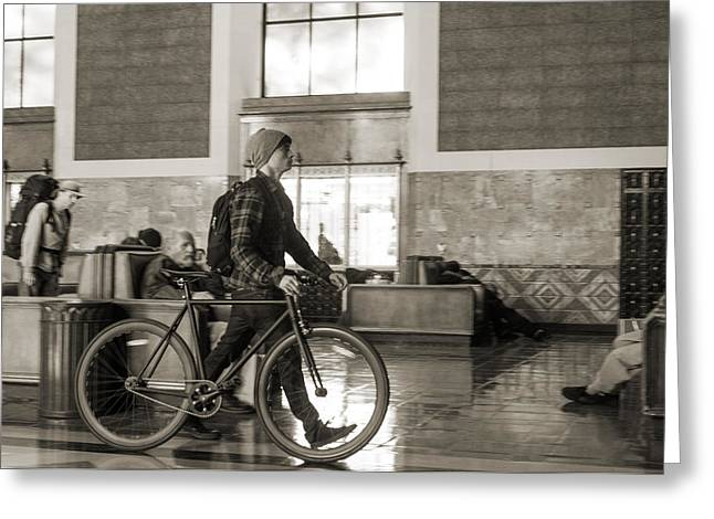 Union Station Lobby Greeting Cards - Man walking a bicycle through Union Station in Los Angeles Greeting Card by Kim M Smith