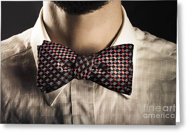 Neck Tie Greeting Cards - Man wearing an elegant bow tie Greeting Card by Ryan Jorgensen