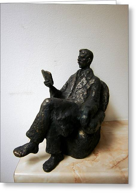 Book Sculptures Greeting Cards - Man with book Greeting Card by Nikola Litchkov