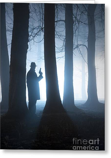Recently Sold -  - Eerie Greeting Cards - Man With Gun In Foggy Forest At Night Greeting Card by Lee Avison