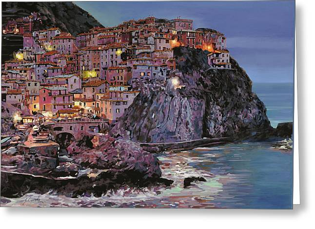 Guido Borelli Greeting Cards - Manarola at dusk Greeting Card by Guido Borelli