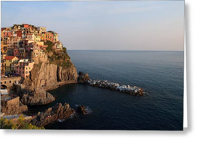 North Italian Town Greeting Cards - Manarola at sunset in the Cinque Terre Italy Greeting Card by Matteo Colombo