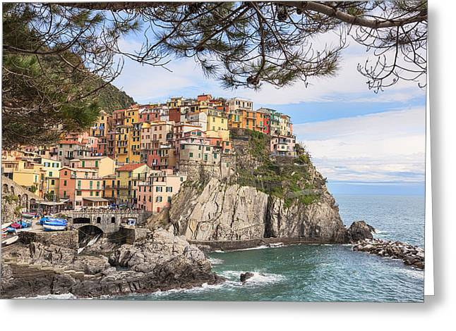 Port Town Greeting Cards - Manarola Greeting Card by Joana Kruse
