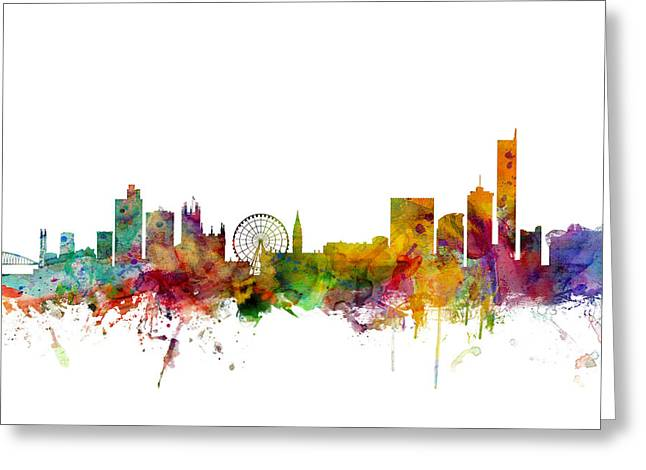 Cityscape Digital Art Greeting Cards - Manchester England Skyline Greeting Card by Michael Tompsett