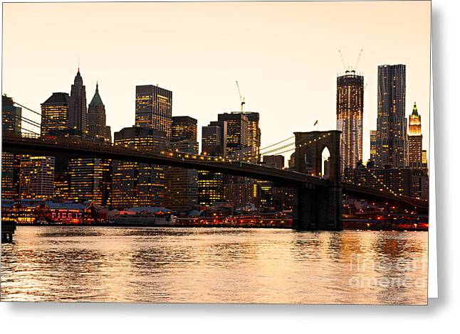 Famous Bridge Greeting Cards - Manhattan - New York City - USA. Greeting Card by Luciano Mortula