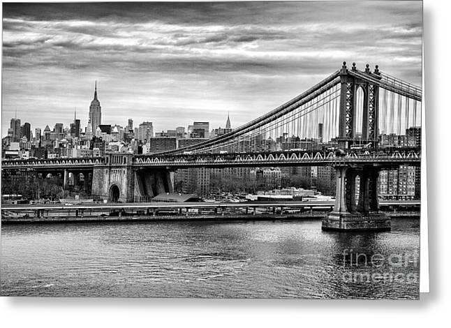 New York Canvas Photographs Greeting Cards - Manhattan bridge Greeting Card by John Farnan
