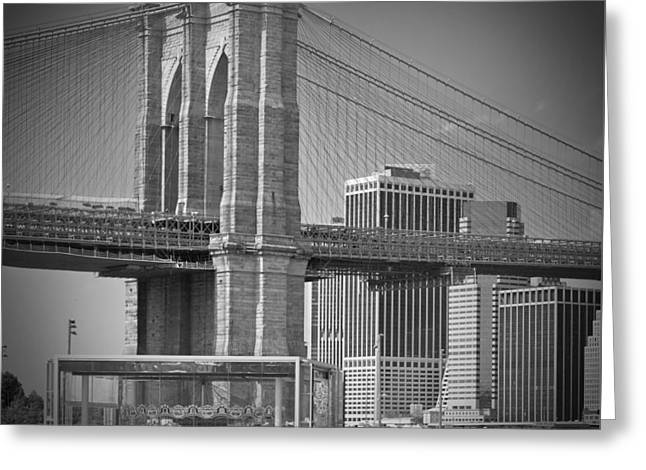Sightseeing Digital Greeting Cards - Manhattan Brooklyn Bridge Greeting Card by Melanie Viola