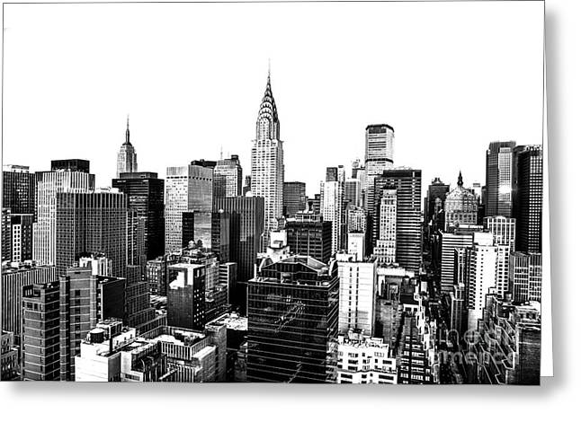 Manhattan Greeting Cards - Manhattan Skyline Greeting Card by Diane Diederich