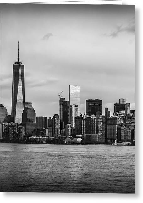 Downtown Greeting Cards - Manhattan Skyline Middle Triptych Greeting Card by David Morefield