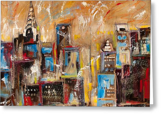 People Greeting Cards - Manhattan Towers I Greeting Card by Sharon Sieben