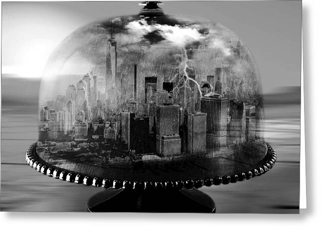 Unusual Lightning Mixed Media Greeting Cards - Manhattan Under the Dome Greeting Card by Marian Voicu