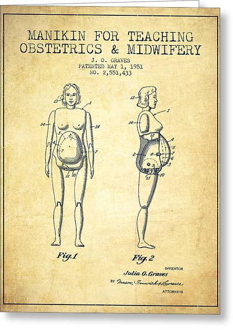 Pregnant Greeting Cards - Manikin for Teaching Obstetrics and Midwifery Patent from 1951 - Greeting Card by Aged Pixel