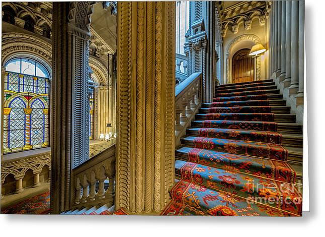 Mansion Stairway Greeting Card by Adrian Evans