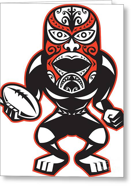 Maori Mask Rugby Player Standing With Ball Greeting Card by Aloysius Patrimonio