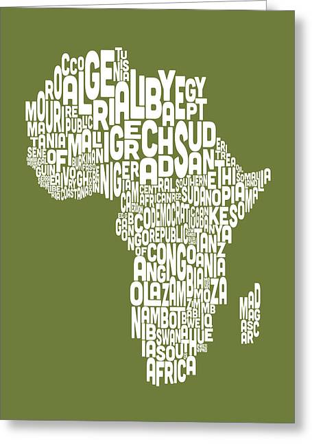 Africa Map Greeting Cards - Map of Africa Map Text Art Greeting Card by Michael Tompsett