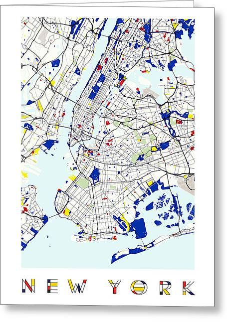 Circles Squares Triangle Textured Greeting Cards - Map of New York in the style of Piet Mondrian Greeting Card by Adam Asar