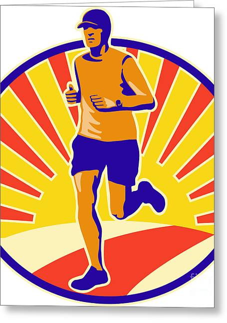Marathon Runner Athlete Running Greeting Card by Aloysius Patrimonio