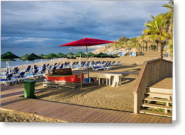 Lounger Greeting Cards - Marbella Beach on Costa del Sol in Spain Greeting Card by Artur Bogacki