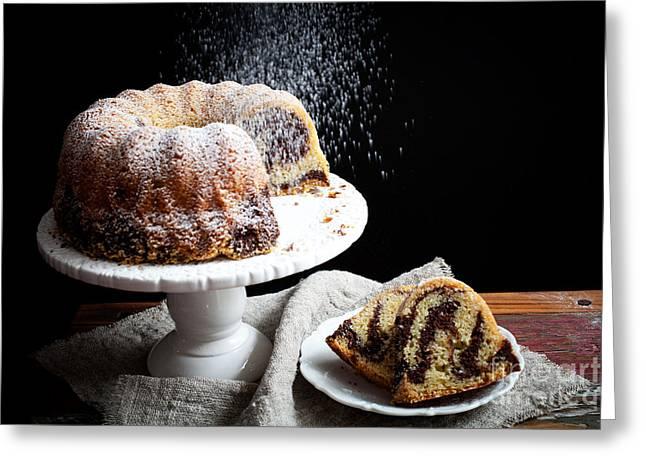 Cocoa Powder Greeting Cards - Marble bundt cake Greeting Card by Kati Molin